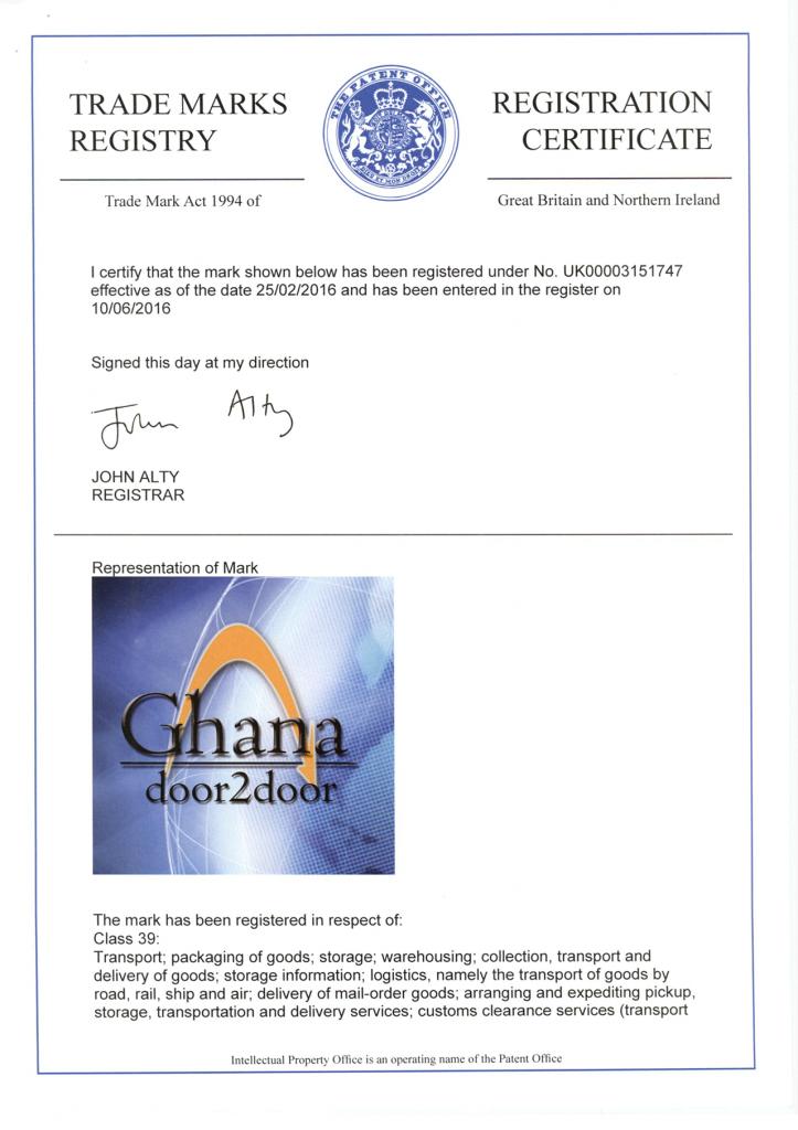 Ghana Door 2 Door Trademark Certificate