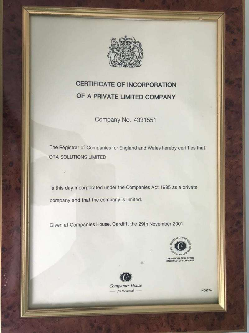 OTA Solutions Limited company registration certificate