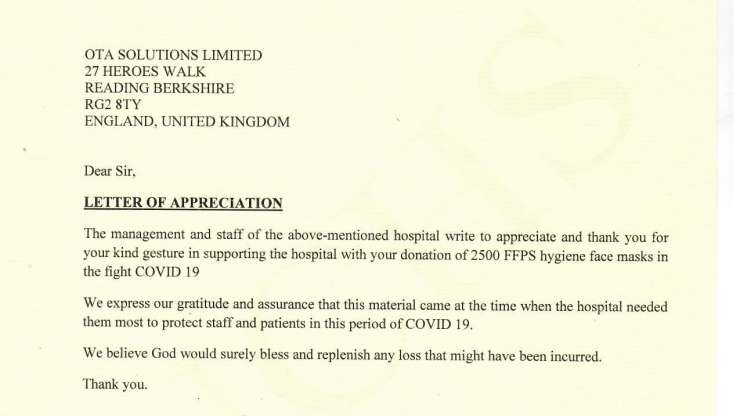 Letter of appreciation from St Peter's Hospital